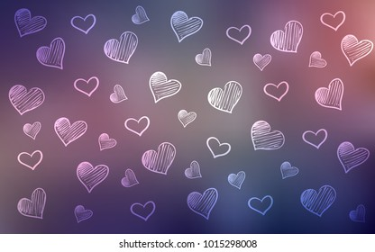 Dark Pink, Blue vector layout with sweet hearts. Decorative shining illustration with hearts on abstract template. Pattern for carnival, festival romantic leaflets.