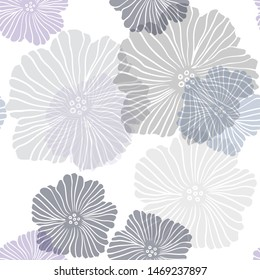 Dark Pink, Blue vector seamless abstract pattern with flowers. An elegant bright illustration with flowers. Texture for window blinds, curtains.