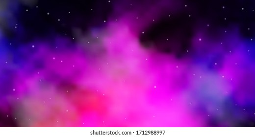 Dark Pink, Blue vector template with neon stars. Decorative illustration with stars on abstract template. Best design for your ad, poster, banner.