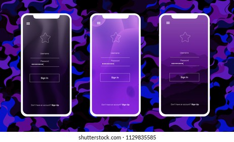 Dark Pink, Blue vector ui ux kit with apple gadget. Elegant bright illustration of iphone X with gradient. This sample you can use for iOS applications.