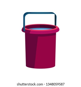 Dark pink bucket illustration. Basket, home, cleaning. Houseware concept. Vector illustration can be used for topics like home, cleaning, houseware