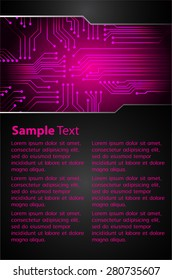 Dark Pink Circuit Light Abstract Technology Background For Computer Graphic Website Internet And Business Vector