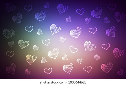 Dark Pink, Green vector layout with sweet hearts. Blurred decorative design in doodle style with hearts. Design for ad, poster, banner of Valentine Day.