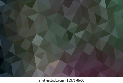Dark Pink, Green vector polygon abstract layout. Creative illustration in halftone style with triangles. A new texture for your web site.