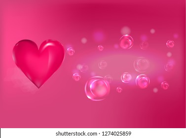 dark pink heart and  air elastic bubbles on the dark pink background with nebula