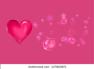dark pink heart and  air elastic bubbles on the dark pink background