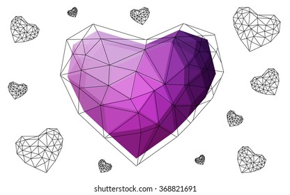 Dark pink heart isolated on white background. Geometric rumpled triangular low poly origami style gradient graphic illustration. Vector polygonal design for your business.