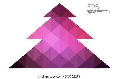 Dark pink low polygon style christmas tree vector illustration consisting of triangles . Abstract triangular polygonal origami or crystal design of New Years celebration. Isolated on white background.
