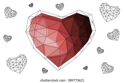 Dark pink, red heart isolated on white background. Geometric rumpled triangular low poly origami style gradient graphic illustration. Vector polygonal design for your business.