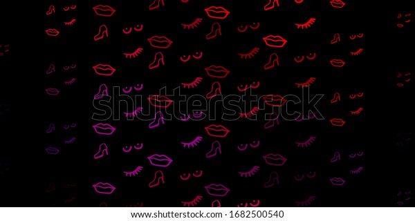 Dark Pink, Red vector background with woman symbols. Colorful feminism symbols with a gradient in modern style. Background for International Women's Day.