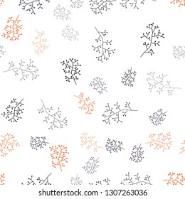 Dark Pink, Red vector seamless doodle pattern with branches. Colorful abstract illustration with leaves in doodle style. Texture for window blinds, curtains.