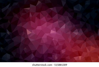 Dark pink shining triangular template. Creative illustration in halftone style with gradient. The completely new template can be used for your brand book.