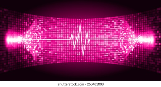 Dark Pink Sound wave background suitable as a backdrop for music, technology and sound projects. Blue Heart pulse monitor with signal. Heart beat.