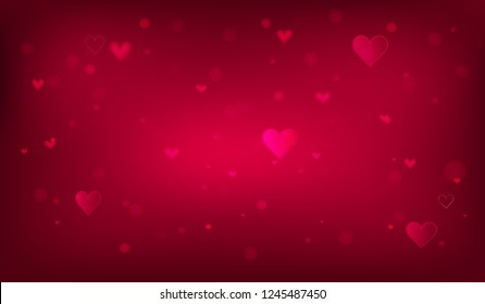 Dark pink  template. Hearts on abstract background. Wedding design. Postcard or internet banner. Be my valentine. Pink color.