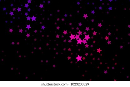 Dark Pink vector layout with bright stars. Modern geometrical abstract illustration with stars. Smart design for your business advert.