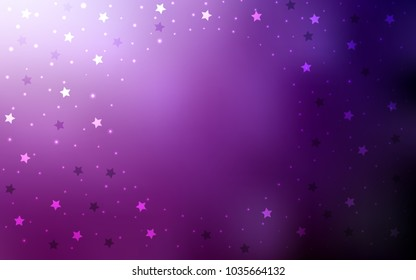 Dark Pink vector layout with bright stars. Glitter abstract illustration with colored stars. The pattern can be used for new year ad, booklets.