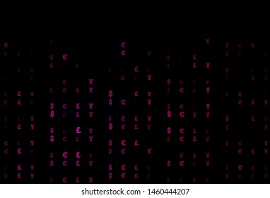 Dark Pink vector pattern with EUR, JPY, GBP. Blurred design in with symbols of EUR, JPY, GBP. The pattern can be used as ads, poster, banner for payments.