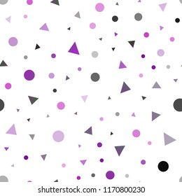 Dark Pink vector seamless template with trangles, circles. Illustration with set of colorful circles, triangles. Trendy design for wallpaper, fabric makers.