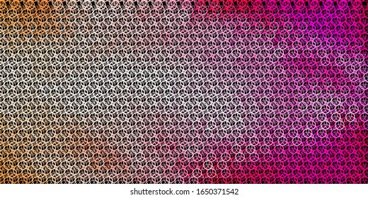 Dark Pink vector template with esoteric signs. Colorful vintage illustration with gradient alchemy shapes. Best design halloween events.