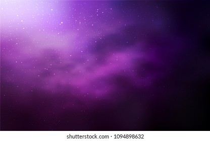 Dark Pink vector texture with milky way stars. Shining colored illustration with bright astronomical stars. Pattern for futuristic ad, booklets.