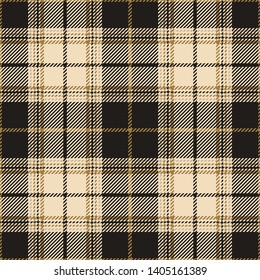 Dark plaid pattern seamless vector. Tartan check plaid in gold and grey for flannel shirt, skirt, bag, blanket, or other textile designs.