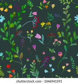Dark plants. Floral seamless pattern. Watercolour imitation.