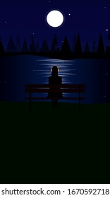 Dark poster of silhouette of woman wearing pink headphones, sitting on a bench and looking at the moon and stars in the sky shining on the water. Vector has copy space at bottom with room for text.