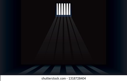 Dark prison cell with bars on the window. The sun's rays make their way through the window