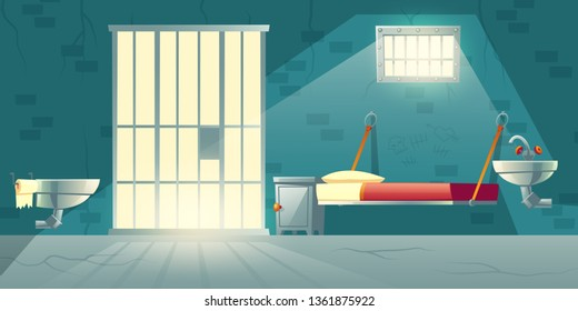 Dark prison cell interior cartoon vector with metal bars on window, bunk bed, toilet bowl, washbasin and scratched, cracked brick walls illustration. Jail single-celling facility for dangerous prison