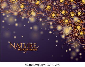 Dark purple background with feathers pattern and gold glow. Hanuka.Graphic design for invitation card, cosmetic package. Vector illustration. Hand drawn tail of peacock. Tail of phoenix.