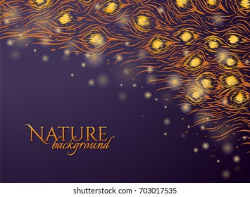 Dark purple background with feathers pattern and gold glow. Nature backdrop. Graphic design for invitation card, cosmetic package. Vector illustration. Hand drawn tail of peacock. Tail of phoenix.
