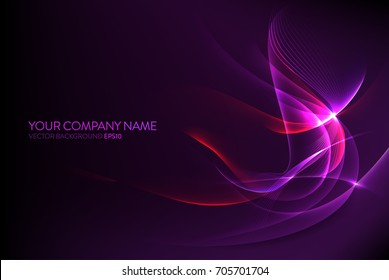 Dark purple background image with light purple waves and stripes, vector concept