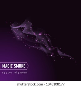 Dark purple background with smoke and stars. Magical smoke for food advertising and package. Realistic vector illustration.