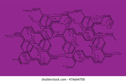 dark purple color Light Abstract Technology background for computer graphic website internet and business. circuit board. illustration. digital. infographics. binary code