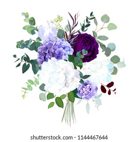 Dark purple garden rose, white and lilac hydrangea, violet iris, agonis, seeded eucalyptus, greenery big vector bouquet. Winter wedding flowers.Watercolor style. All elements are isolated and editable