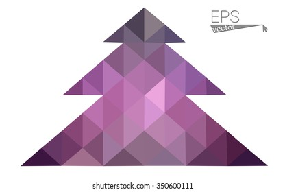Dark purple low polygon style christmas tree vector illustration consisting of triangles.Abstract triangular polygonal origami or crystal design of New Years celebration. Isolated on white background.