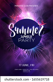 Dark purple neon tropical summer party flyer with banana palm leaves and jungle flowers. Modern blurs and gradients. Electric glow background with copy space. Vector illustration.