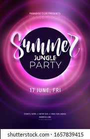 Dark purple neon tropical summer party flyer with lettering. Electric glow background with copy space. Modern blurs and gradients. Vector illustration.