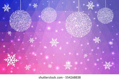 Dark Purple, pink christmas postcard low polygon background. Vector illustration consisting of triangles. Abstract triangular polygonal origami or crystal design of New Year celebration.