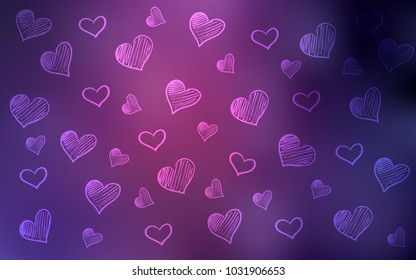 Dark Purple, Pink vector background with hearts. Illustration with hearts in love concept for valentine's day. Design for ad, poster, banner of Valentine Day.