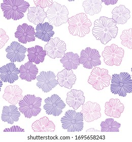 Dark Purple, Pink vector seamless doodle template with flowers. Doodle illustration of flowers in Origami style. Design for textile, fabric, wallpapers.