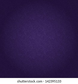 Dark Purple Seamless Pattern with Abstract Curly Elements. Vector Illustration