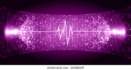 Dark purple purple Sound wave background suitable as a backdrop for music, technology and sound projects. Blue Heart pulse monitor with signal. Heart beat.