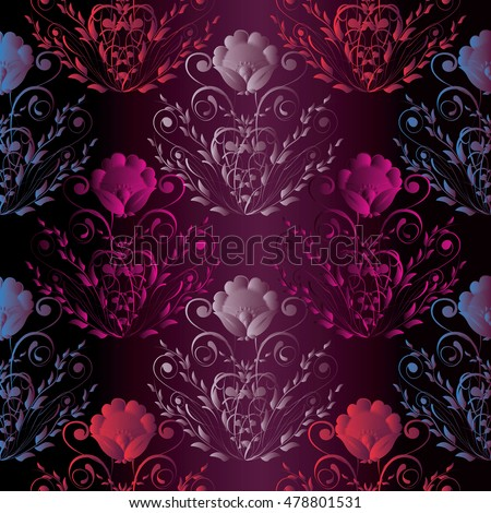 Dark Purple Stylish Elegant Floral Vector Seamless Pattern Wallpaper Illustration With Vintage Decorative Pink Flowers And