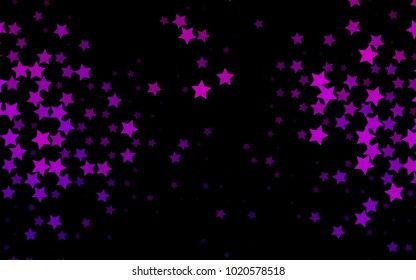 Dark Purple vector background with colored stars. Shining colored illustration with stars. The pattern can be used for wrapping gifts.