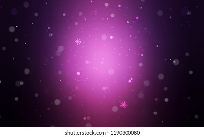 Dark Purple vector background with xmas snowflakes. Decorative shining illustration with snow on abstract template. New year design for your ad, poster, banner.