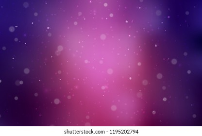 Dark Purple vector background with xmas snowflakes. Decorative shining illustration with snow on abstract template. The pattern can be used for new year leaflets.
