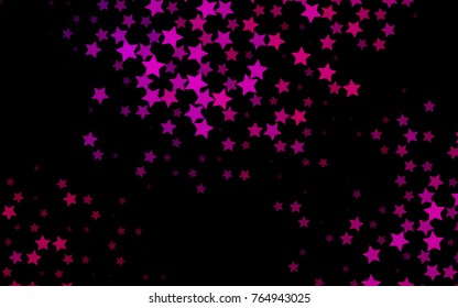 Dark Purple vector cover with small and big stars. Modern geometrical abstract illustration with stars. The template can be used as a background.