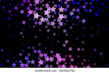 Dark Purple vector layout with bright stars. Blurred decorative design in simple style with stars. The pattern can be used for wrapping gifts.