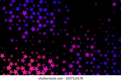 Dark Purple vector layout with bright stars. Stars on blurred abstract background with gradient. The pattern can be used for new year ad, booklets.